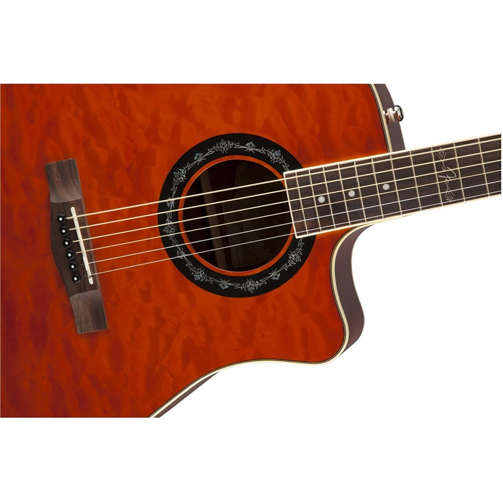fender t bucket quilted maple top electric acoustic guitar amber sight sound music. Black Bedroom Furniture Sets. Home Design Ideas