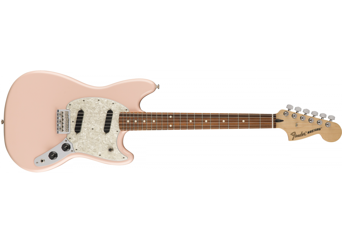 fender mustang electric guitar pau ferro fingerboard shell pink sight sound music. Black Bedroom Furniture Sets. Home Design Ideas