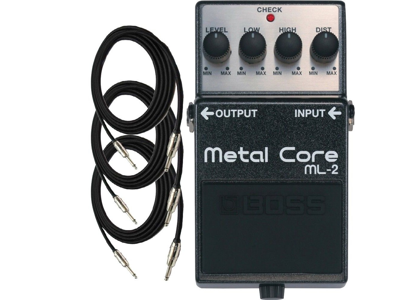 boss ml2 metal core guitar distortion pedal with three exo cg10 guitar cables sight sound music. Black Bedroom Furniture Sets. Home Design Ideas