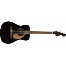 Fender Malibu Player Electric Acoustic Guitar in Jetty Black with Walnut Fr