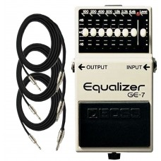 Boss GE7 7 Band Graphic Equalizer Guitar Pedal with Three EXO CG10 Guitar C