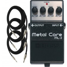 Boss ML2 Metal Core Guitar Distortion Pedal with Three EXO CG10 Guitar Cabl