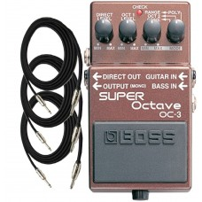 Boss OC3 Super Octave Guitar Pedal with Three EXO CG10 Guitar Cables