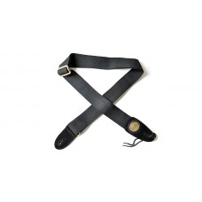 Fender  2  inch  Black  Cotton  Leather  Strap