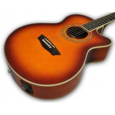 Washburn EA15ITB Mini Jumbo Cutaway Acoustic Electric Guitar Flame Maple To