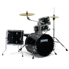 Rockwood RWDSB 4 Piece Junior Drum Set with Hardware and Cymbals Black