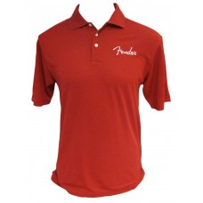 Fender Spaghetti Logo Polo Shirt in Red- Large