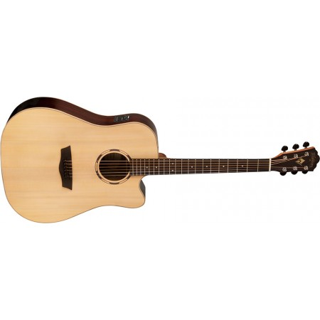 Washburn WLD20SCE Woodline Dreadnought Solid Spruce top Cutaway Acoustic Electric Guitar Natural